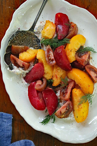 Stone Fruit and Heirloom Salad with Savory Goat Cheese Spread