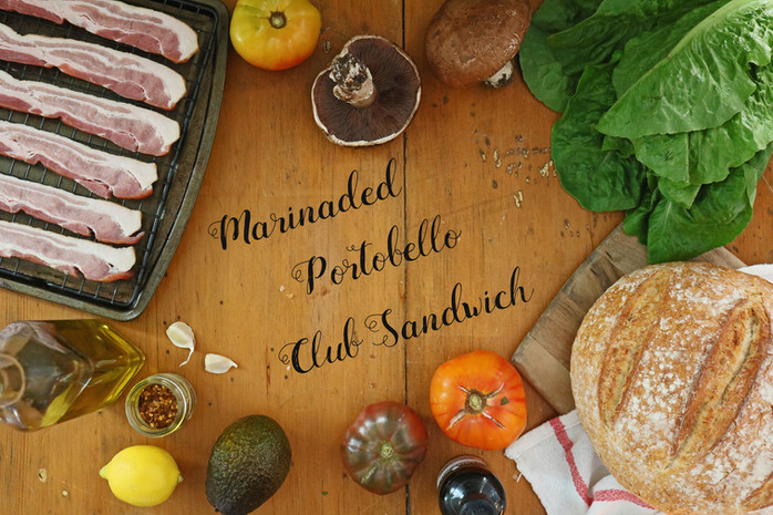 Marinaded Portobello Club Sandwich