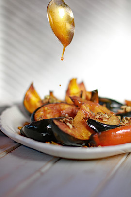Roasted squash with apple cider reductio