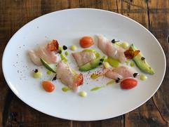 Kara Olsen Food Photographer sea bass crudo with tomato and avocado
