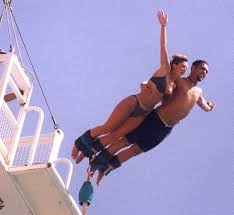 Couple bungee jump double harnass