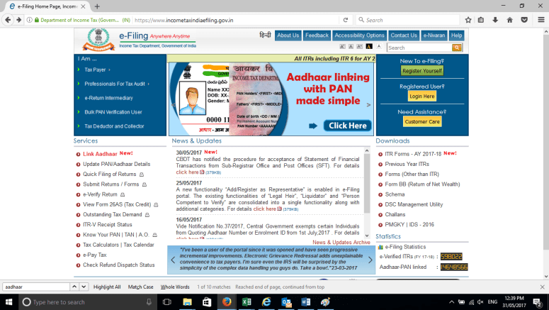 incometax india home page
