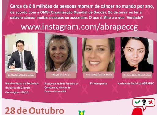 Campo Grande – ABRAPEC vai realizar LIVE abordando o tema Mitos e Verdades relacionadas ao câncer