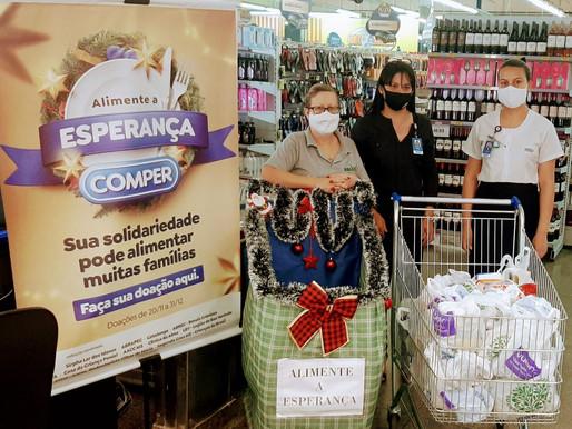 Campo Grande–Rede Comper realizou a doação de 482 quilos de alimentos não perecíveis para a ABRAPEC