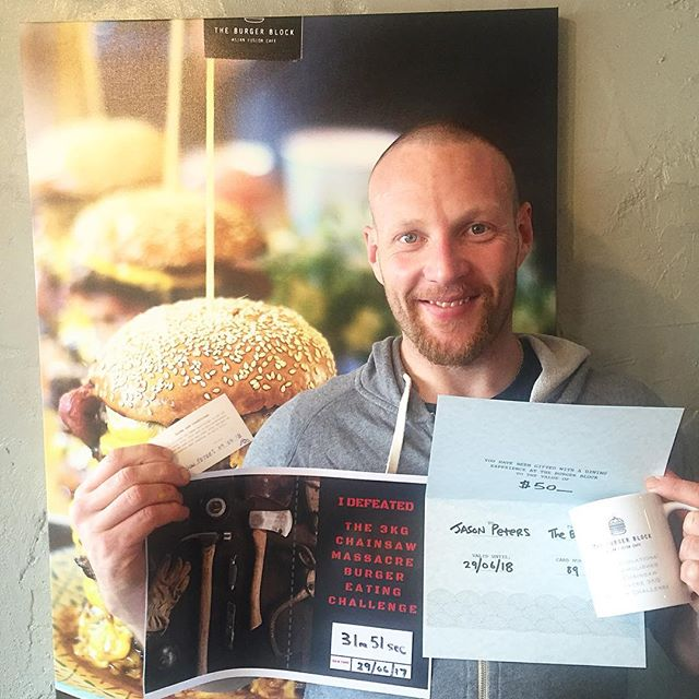 Congrats to Jason who demolished the 3kg Chainsaw Massacre 🍔