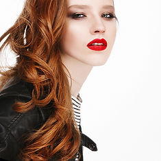 Copper hair with red lips
