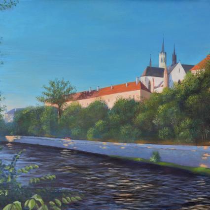 Cloister over The Vltava River, Czech landscpae painting