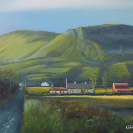 Kings Mountain, Red Barn, Sligo painting