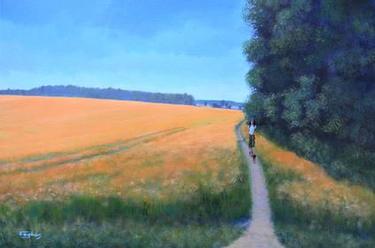 Oat field walk, Czech landscape painting