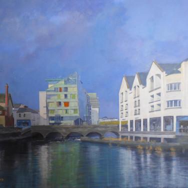 Hyde Bridge and Glass House, Sligo town, painting