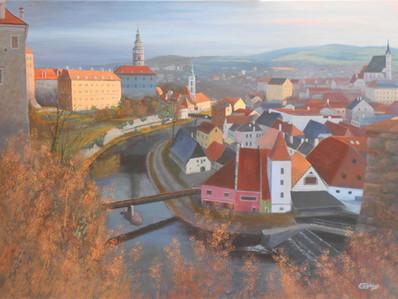 Cesky Krumlov, looking East, Czech landscape painting