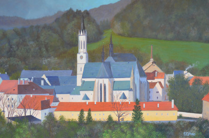 Vyssi Brod Cloister, May morning, Czech landscape painting