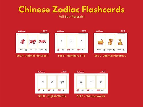 Chinese Zodiac Flashcards (Full) Sets A-E (Portrait)