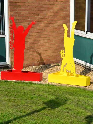 Steel child sculptures