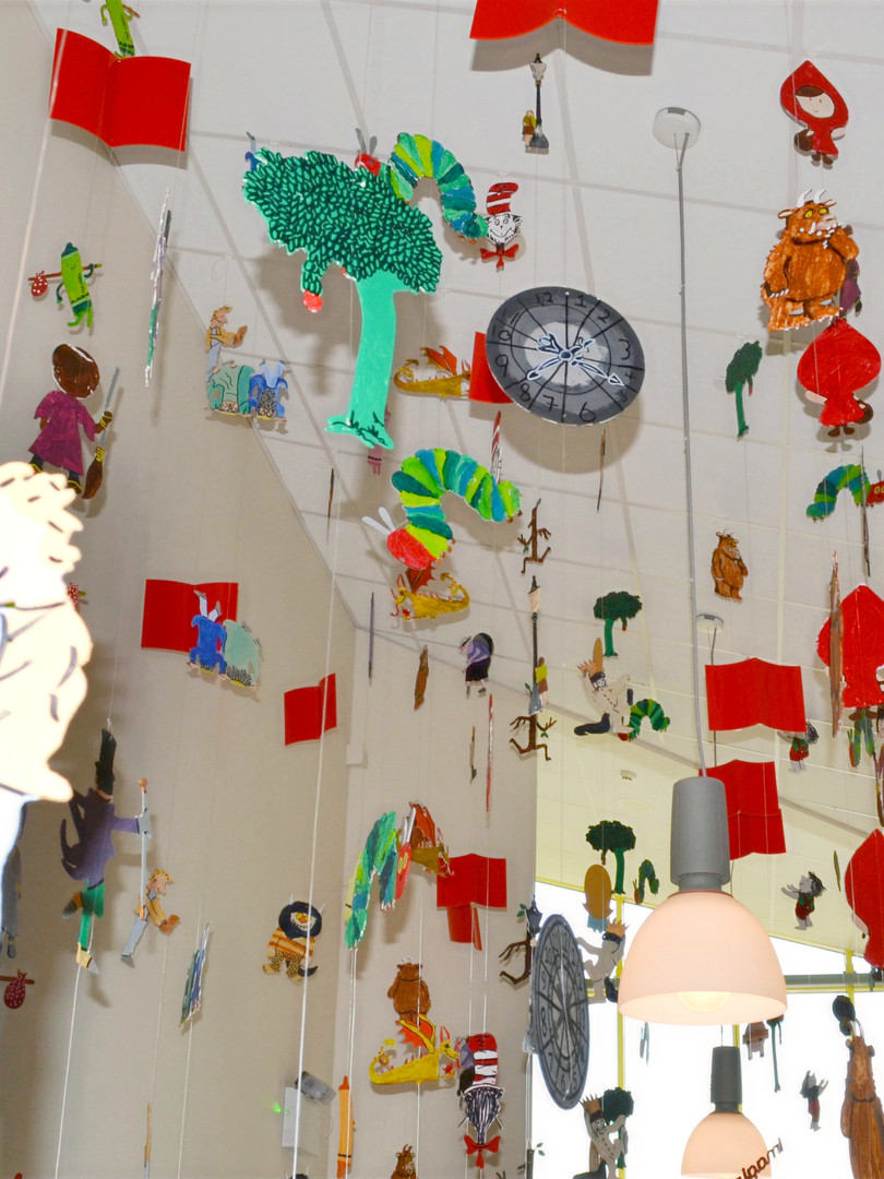 Book Characters Ceiling Installation