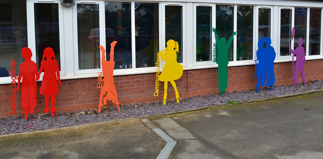 School sculptures of children primart installations