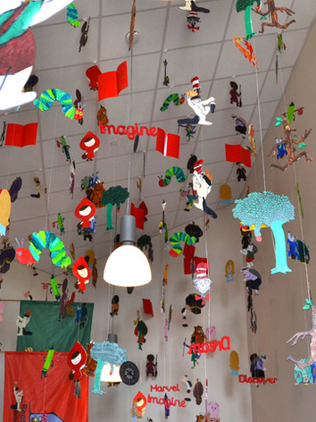 Hanging Book Characters Installation