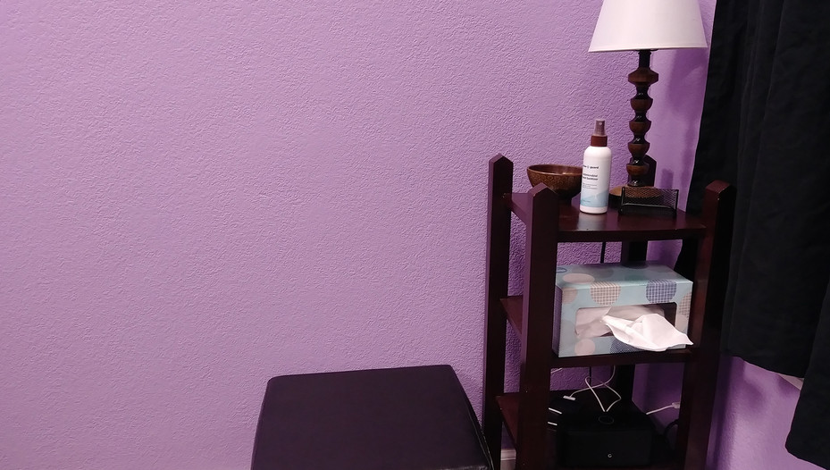 Comfortable space for clients to get ready for massage.
