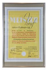 Orthopädie Aulenkamp Meisterbrief Adrian Walkhofer-Liß 2014