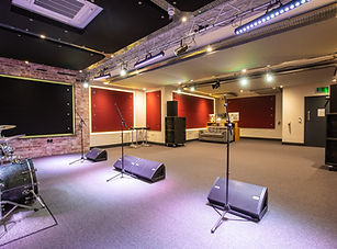 Tour style production room with many more rehearsal studios and recording studios for bands and musicians