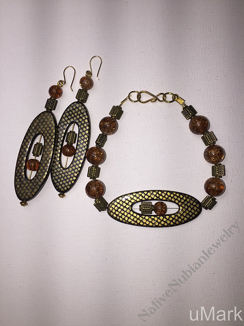 "Akpofure- 10"" Ankle Bracelet and Earrings Set"