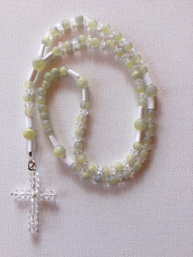 Frosted Green Rosary $25