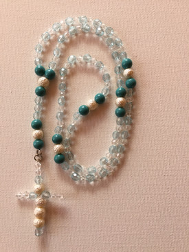 Frosted White and Turquoise Rosary $25