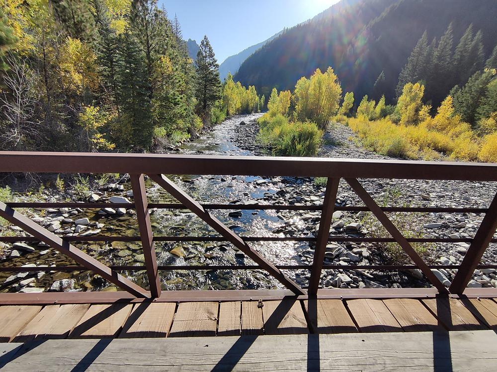 Bridge crossing of creek on Dark Canyon Trail