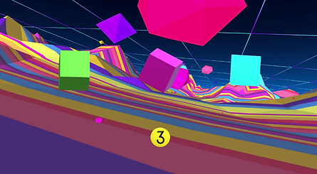 Shown here is the user interface in Neon Puzzle Cubes. The three cubes and scene disk are manipulated using the using the Tobii 4C eye tracker.