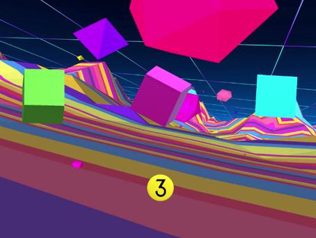 Neon Puzzle Cubes: A probabilistic algorithmic composition that utilizes an eye tracking interface.