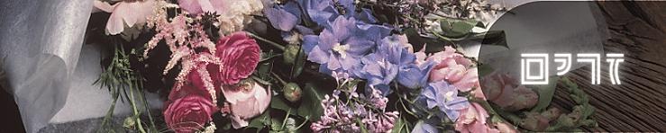זר פרחים בצבע סגול ובורדו