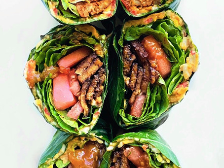 Tempeh B.L.T.P Collard Wrap & Hot Chili Tomato Jam