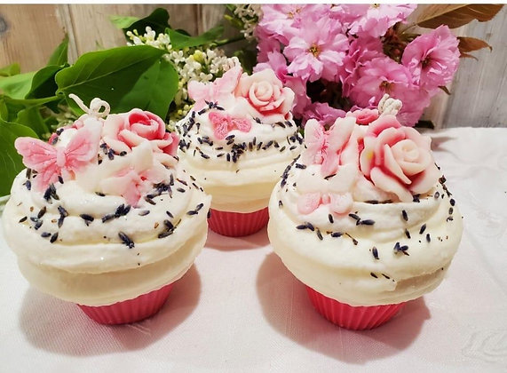 Lavender Rose Soy Cupcake Candle