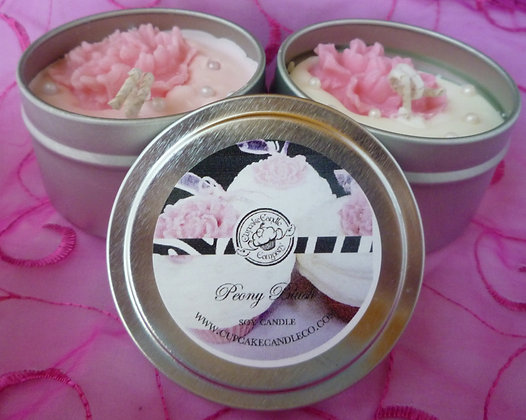 Pink Peony Cupcake Candle Tin