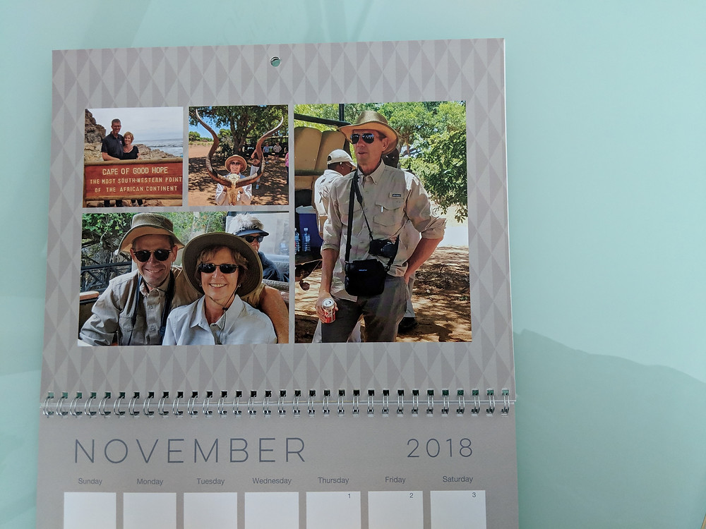Rhonda makes a calendar every year that includes some special travel memories.