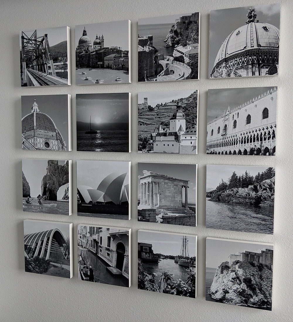 Changeable wall display of travel pics.