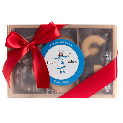 Artisinal Hand-Dipped Biscotti Ring Gift Box (1 Dozen)