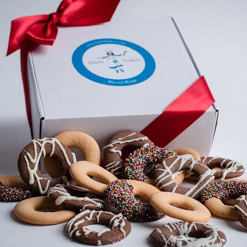 Artisinal Hand-Dipped Biscotti Ring Gift Box (2 Dozen)