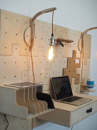 Pegboard stand up desk