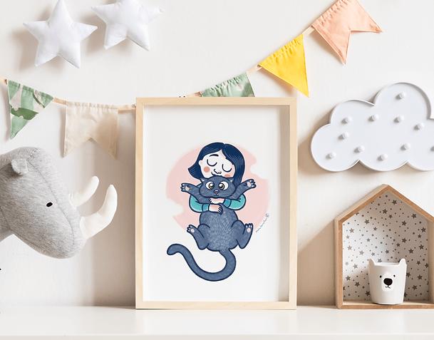 cuadro-habitacion-infantil-nina-con-gato