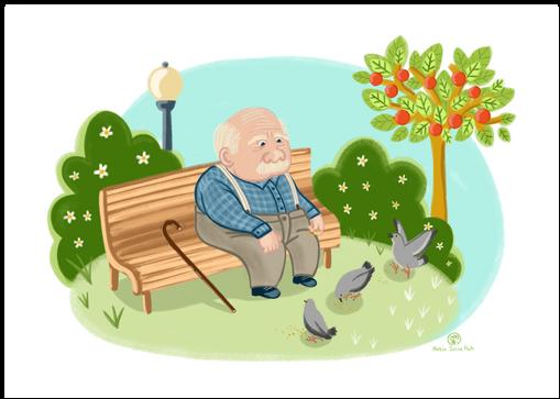 Anciano dando de comer a las palomas
