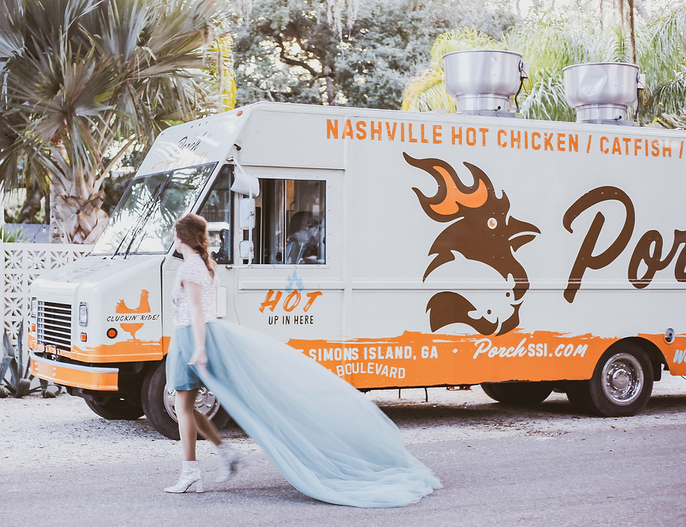 Porch Food Truck St. Simons Island, GA Whitney Timmers bride wearing Betsey Johnson CADY Boot Booties Boot Heels at The Park SSI in Saint Simons