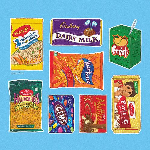 Desi Snacks Art Print