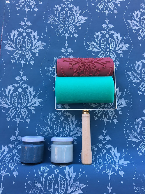Kit colore blu indigo & fresh green + Applicatore universale + rullo
