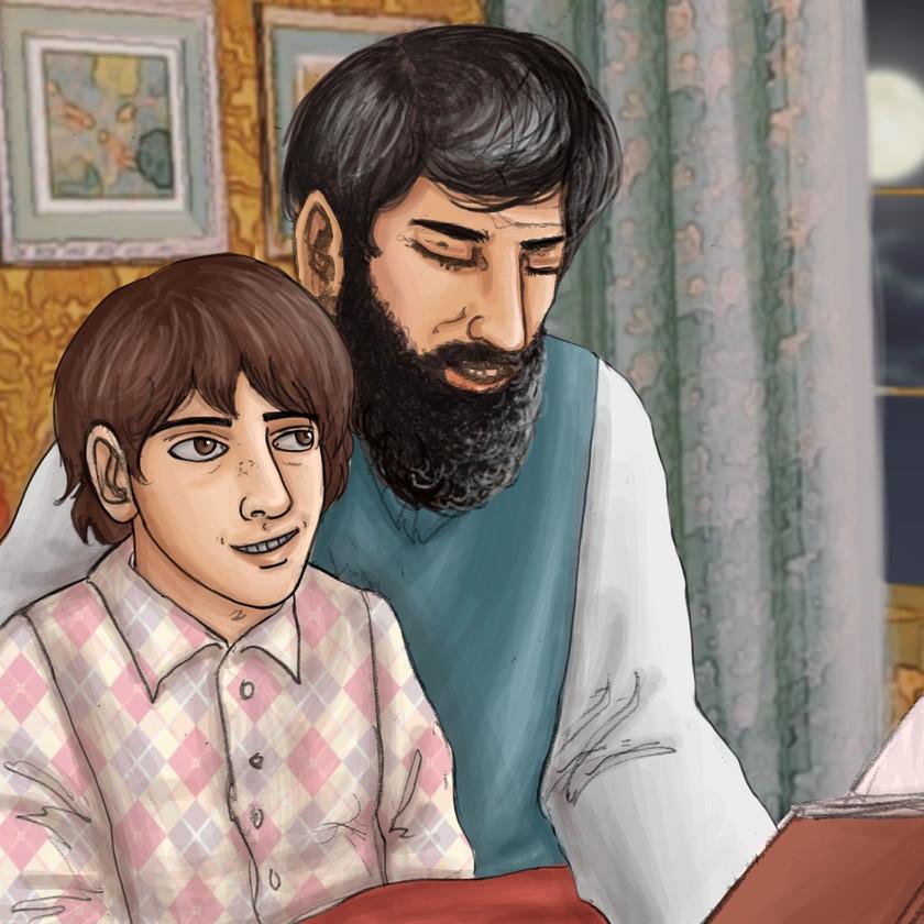 Lev reading Jules Verne to Sam