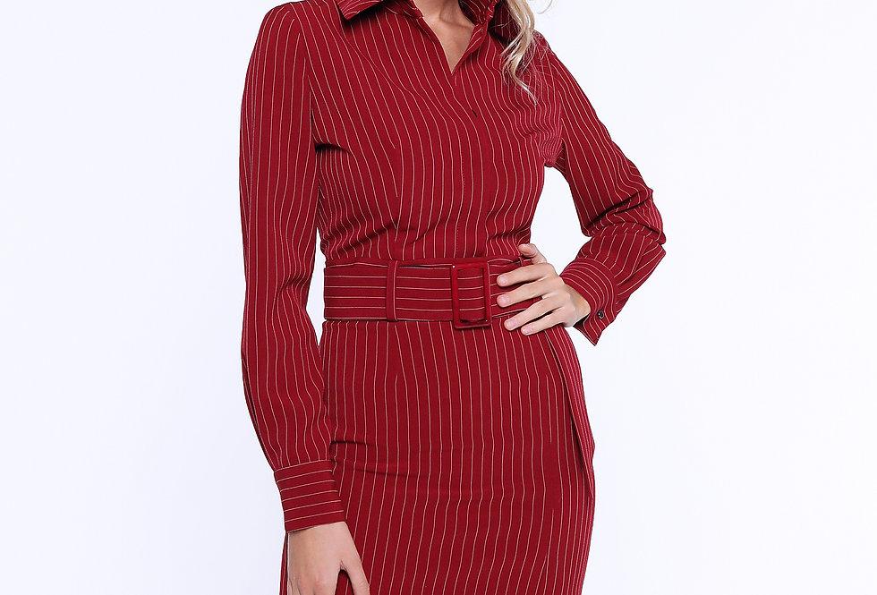 Платье-футляр с разрезом, бордовый