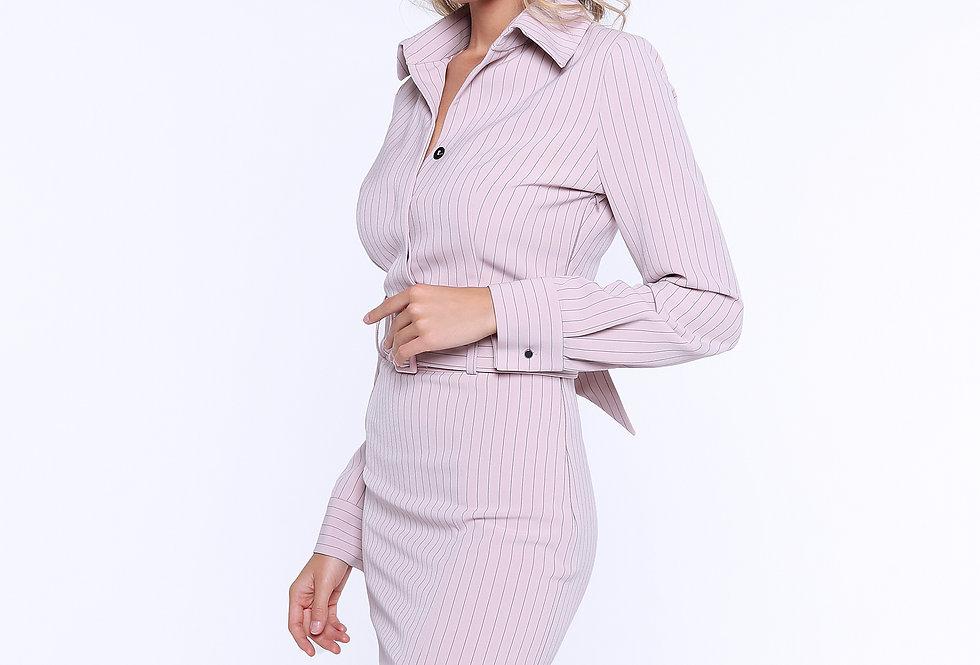 Платье-футляр с разрезом, розовый
