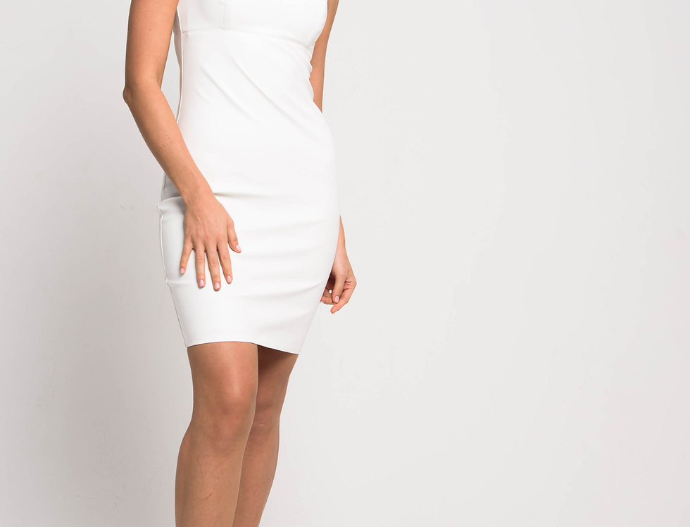 Платье бюстье из эко-кожи, цвет молочный