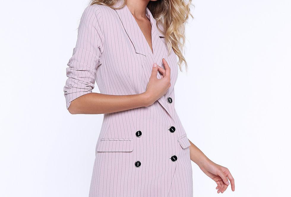 Платье-пиджак ассиметричный, розовый