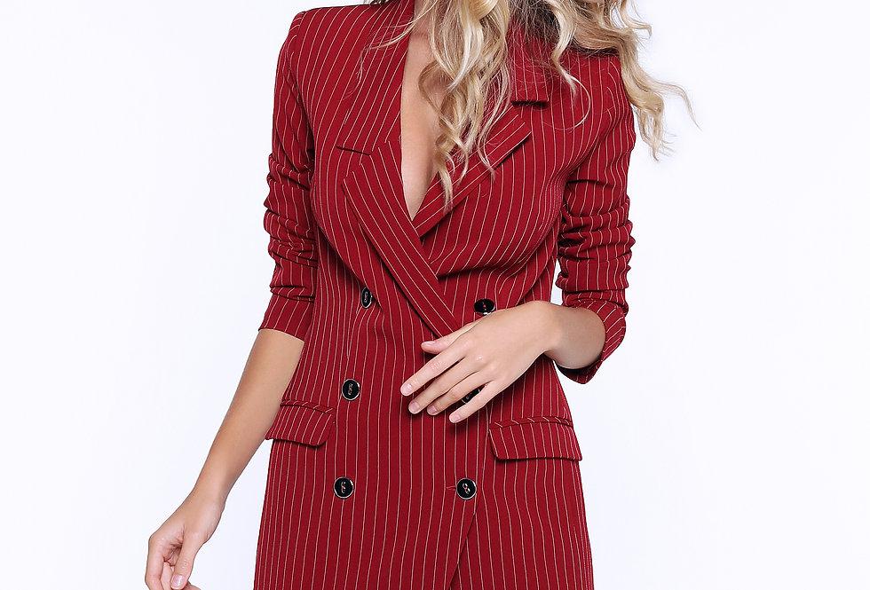 Платье-пиджак ассиметричный, бордовый